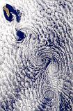 vortex street downwind of Guadalupe Island, Mexico
