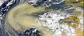 large dust cloud over the Atlantic northwest of Africa