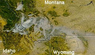 Smoke over the western U.S.A. on August 8, 2000