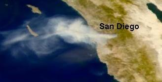 SeaWiFS views of San Diego Fire on 3 Jan 2001