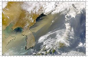 Dust blows across the Korean Peninsula on 20 March 2001
