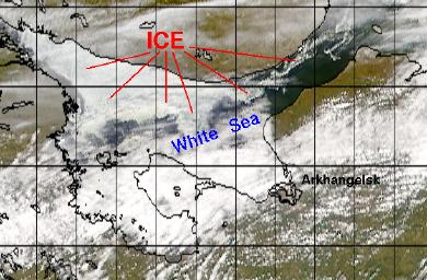 SeaWiFS image of the White Sea on 5 May 2001
