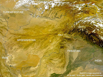 SeaWiFS images of Afghanistan on Monday 8 October 2001