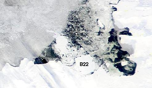 SeaWiFS Image of giant iceberg B22 taken on March 19,2002