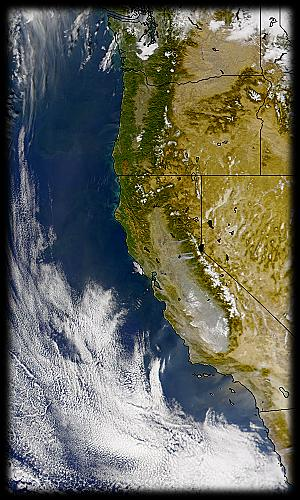quasi-true-color view of U.S. West Coast
