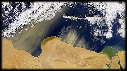 Sahara dust over the Mediterranean Sea
