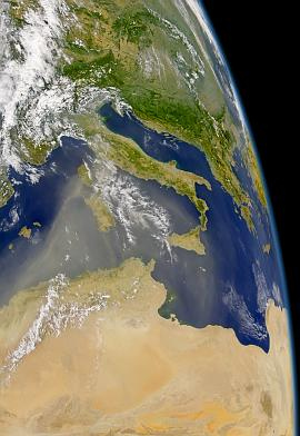 SeaWiFS image of North African dust over the Mediterranean on 19 Aug. 2004