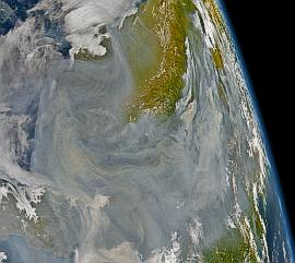 SeaWiFS image of smoke from Alaskan forest fires on 21 Aug. 2004