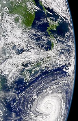SeaWiFS view of Typhoon Chaba on 26 August 2004