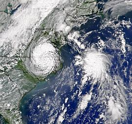 SeaWiFS view of storms Gaston and Hermine on 30 August 2004