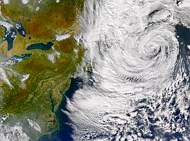 SeaWiFS view of remnants of Subtropical Storm Nicole on 12 Oct. 2004