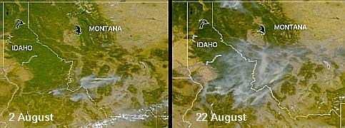 Smoke over the western U.S.A. on August 2 and 22, 2000